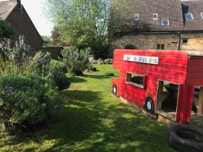 The play bus and our herbs in the garden at Bugbrooke Pre-school